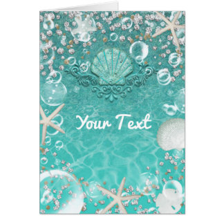 Teal Enchanted Sea Starfish & Bubbles Thank You Card