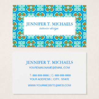 Teal Ethnic Pattern Business Card