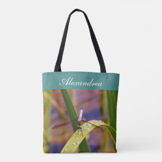 Teal eyes Dragonfly   w/ Name Tote Bag
