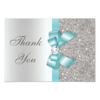 Teal Faux Bow Silver Diamonds Thank You 9 Cm X 13 Cm Invitation Card