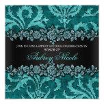 Teal Faux Glitter & Velvet Floral Sweet Sixteen 13 Cm X 13 Cm Square Invitation Card