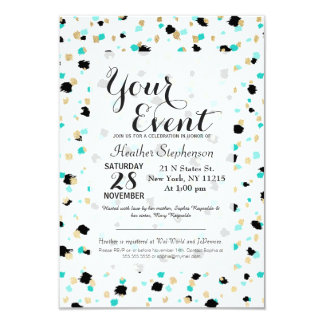 Teal, Faux Gold, & Black Speckled Paint Daubs Card