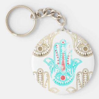 Teal faux gold watercolor Hamsa Hand of Fatima Basic Round Button Key Ring