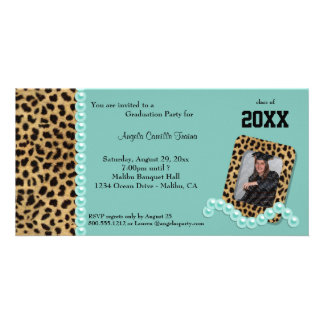 Teal Faux Leopard And Matching Pearls Invitation Photo Greeting Card