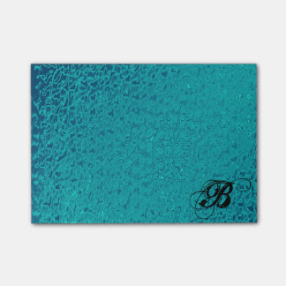 Teal Faux Slick Post it Notes-B Monogram Post-it Notes