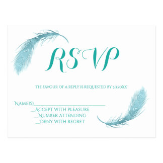 Teal feather wedding RSVP cards