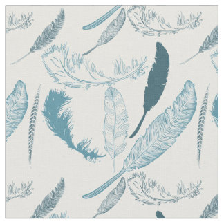 Teal Feathers Fabric