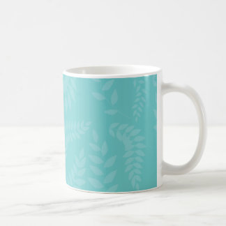 Teal Ferns Foliage Pattern Coffee Mugs