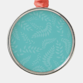 Teal Ferns Foliage Pattern Silver-Colored Round Decoration
