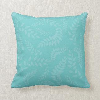Teal Ferns Foliage Pattern Pillows