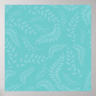 Teal Ferns Foliage Pattern Print