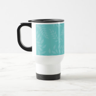 Teal Ferns Foliage Pattern Travel Mug