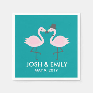 Teal Flamingo Wedding Bride & Groom Pair Disposable Serviettes