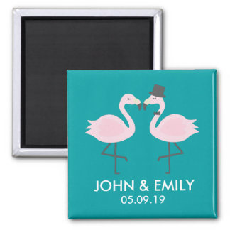 Teal Flamingo Wedding Bride & Groom Pair Magnet