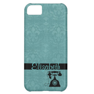 Teal Fleur De Lis Damask with Antique Telephone iPhone 5C Covers