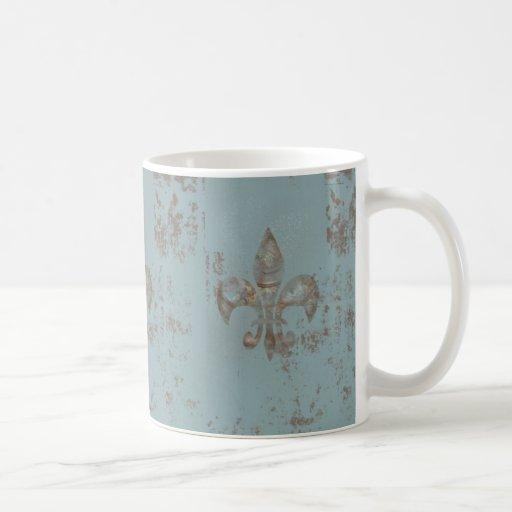Teal Fleur De lis Mugs
