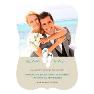 Teal Flip Flops Beach Wedding Photo Announcement