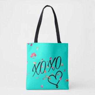 Teal Floating Flower Petals Tote
