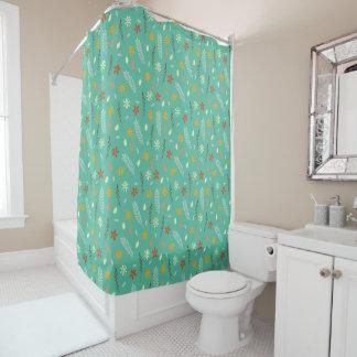 Teal Floral Botanical Pattern Shower Curtain