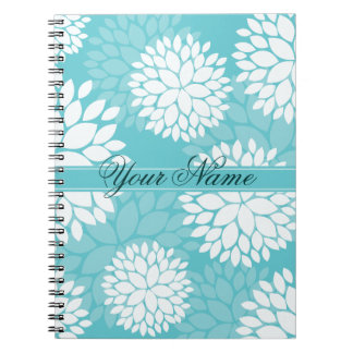 Teal Floral Elegant Pattern Spiral Notebook