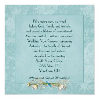 Teal Floral Embossed Wedding  Vow Renewal Card