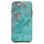 Teal Floral Grunge Red Monogram Tough iPhone 6 Case