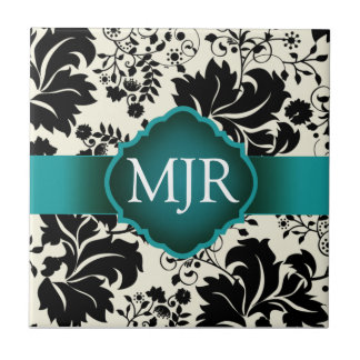 Teal Floral Monogram Keepsake Wedding Favor Small Square Tile
