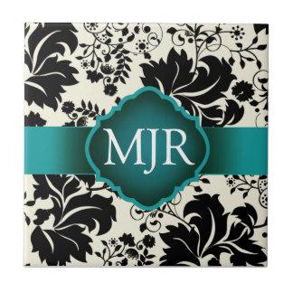 Teal Floral Monogram Keepsake Wedding Favour Small Square Tile