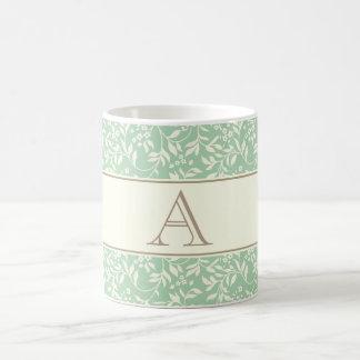 Teal Floral Monogram Mug