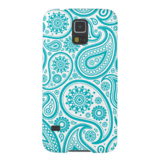 Teal Floral Paisley Monogram Pattern Galaxy S5 Covers