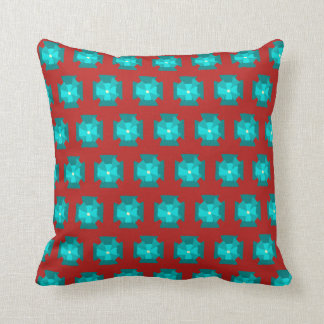 Teal Floral Pattern On Copper Red Cushion