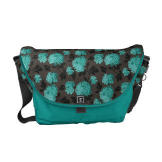 Teal Floral pattern Rickshaw Messenger Bag