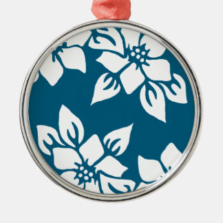 Teal Floral Print Silver-Colored Round Decoration