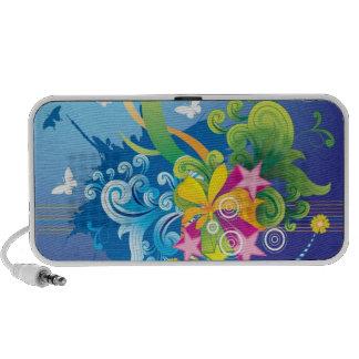 Teal Floral Laptop Speakers