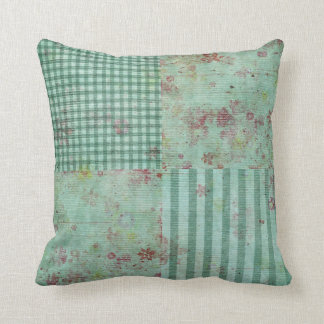 Teal Floral Squares Cushion