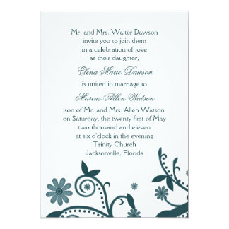 "Teal Floral Swirl Wedding Invitation 5"" X 7"" Invitation Card"