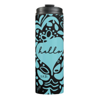 Teal, flower, hearts pattern, monogram, 'Hello' Thermal Tumbler