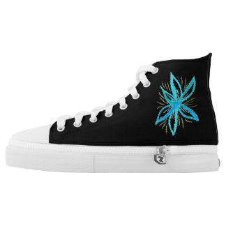 Teal Flower On High Printed Shoes