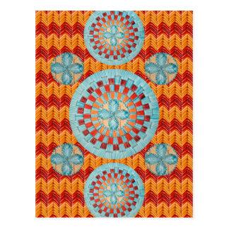 Teal Flower Orange Chevron Design Postcard