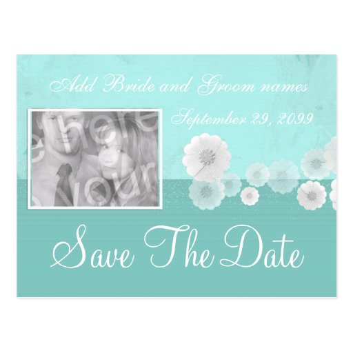 Teal Flower Save the Date Photo Invitation Post Cards