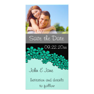 """Teal Flowers/photo  """"Save the Date"""" Picture Card"""