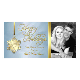 Teal Foil Gold Snowflake Holiday Photo Card
