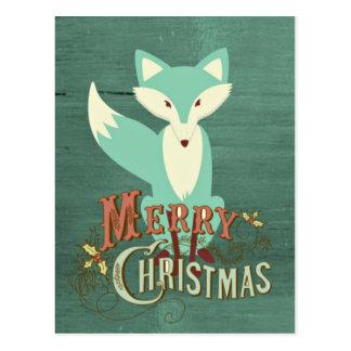Teal Fox Merry Christmas Card Postcard