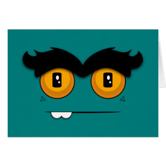 Teal Funny Face With A Unibrow Birthday Card