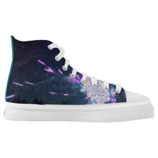 Teal Galaxy Fireworks Printed Shoes
