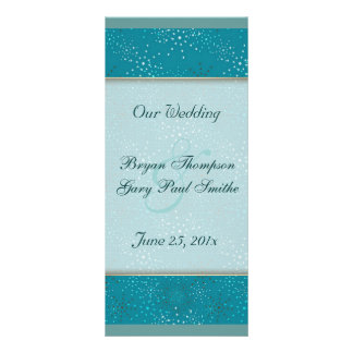 Teal Galaxy WEDDING program Rack Card