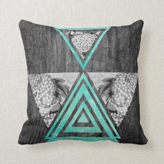 Teal geometric floral wood throw pillow