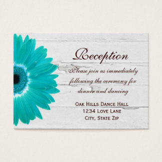 Teal Gerber Daisy Wedding Reception Direction Card