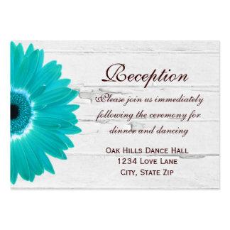 Teal Gerber Daisy Wedding Reception Direction Card Business Card Template