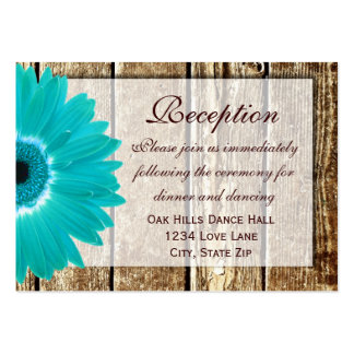 Teal Gerber Daisy Wedding Reception Direction Card Pack Of Chubby Business Cards